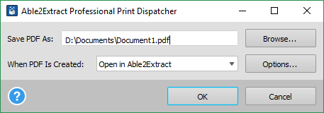 Able2Extract PDF print dispatcher