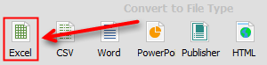 Convert PDF to Excel button