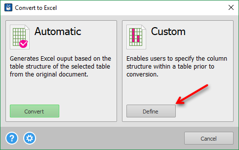 Custom PDF to Excel conversion