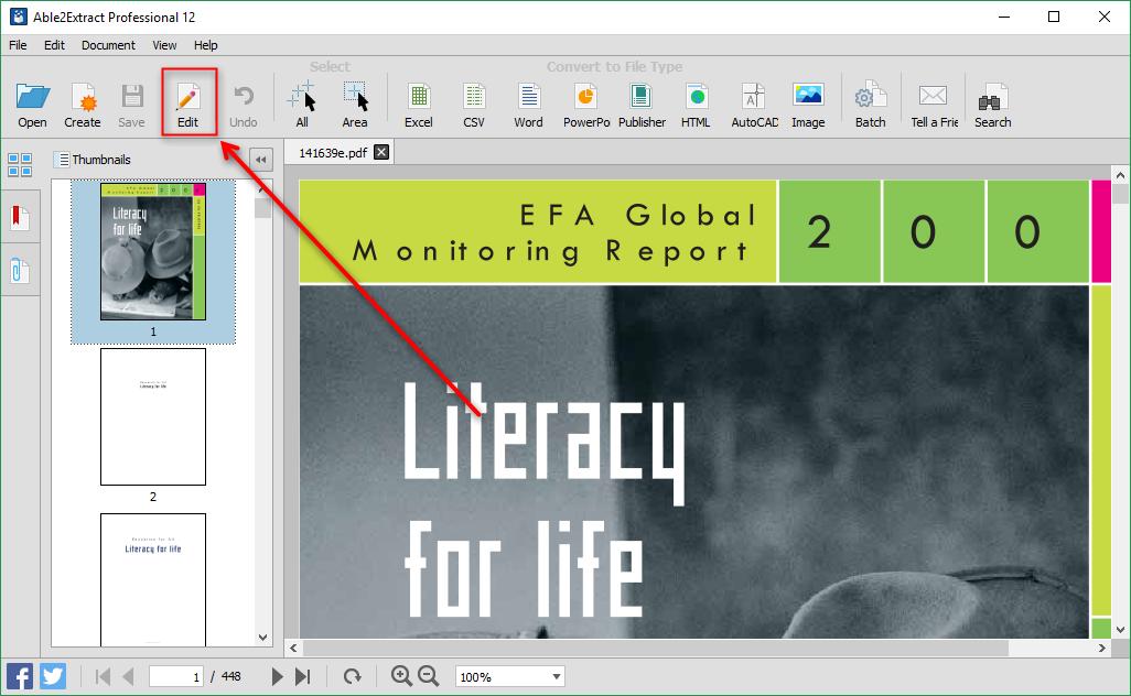 Entrar no modo de edição de PDF