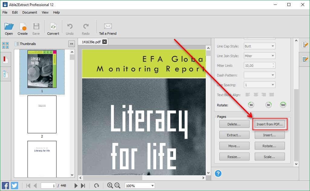 Inserir de PDF