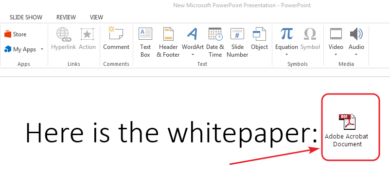 Insert Adobe Acrobat document in MS PowerPoint