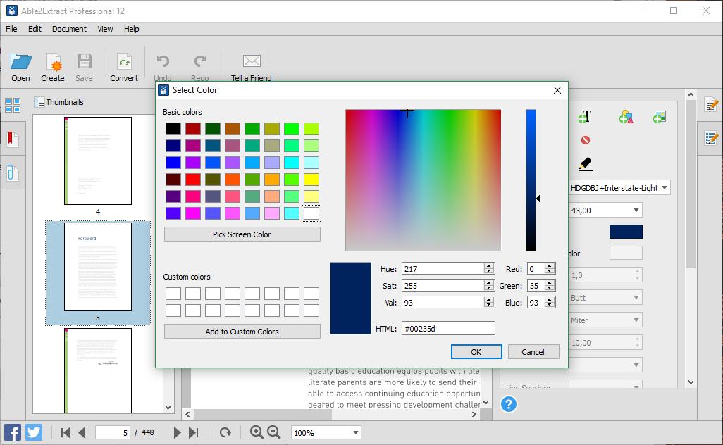 Texto Paleta de cores