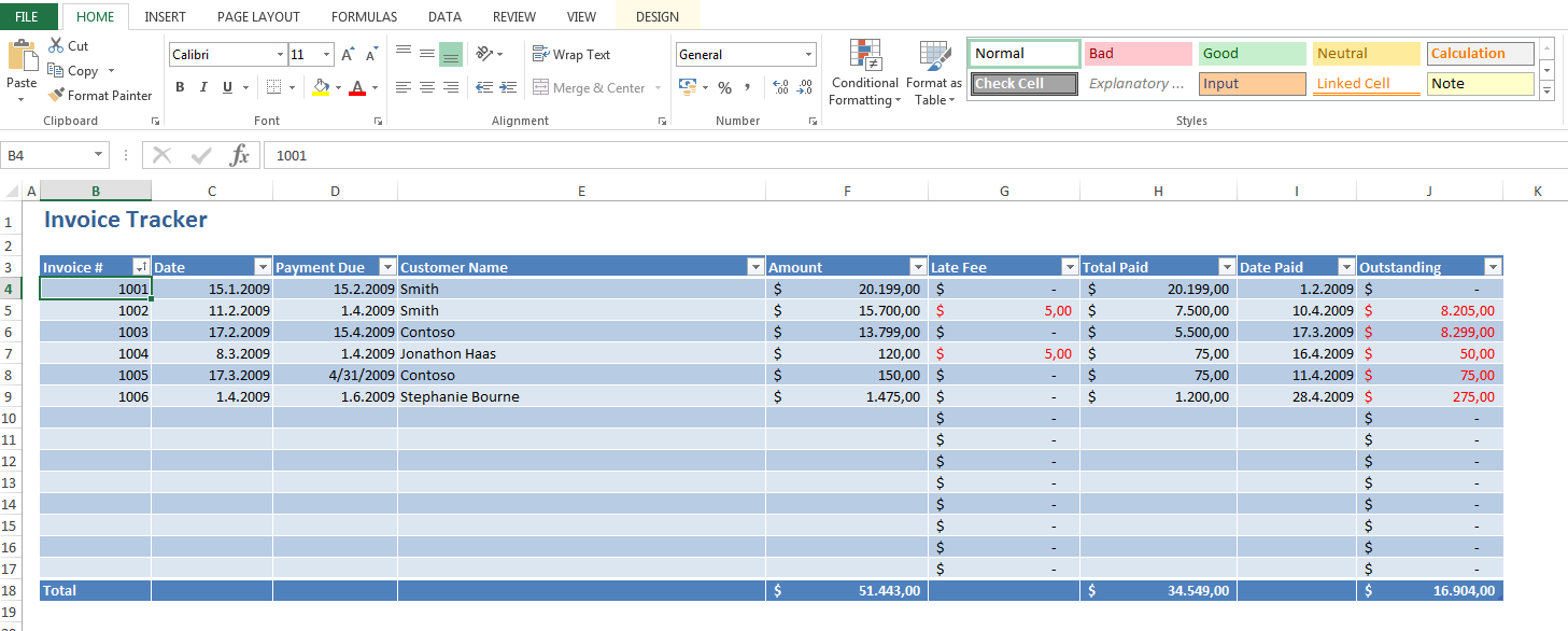 sales tracking spreadsheet