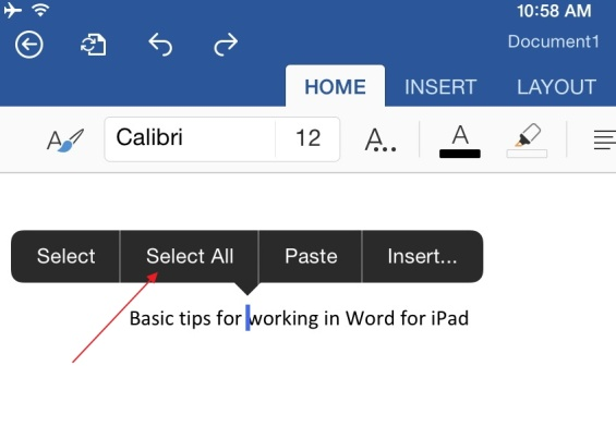 Basic Tips for Working in Word for iPad