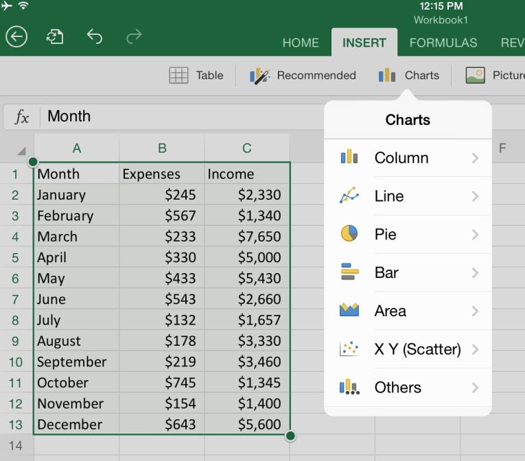 How To Create Charts In Microsoft Excel For Ipad App