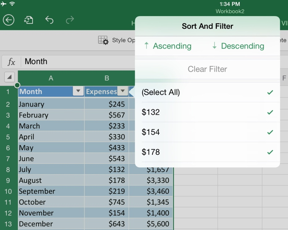 How to use tables in microsoft excel for ipad app for Table options