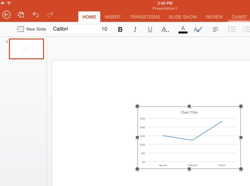 Making Charts in Word or PowerPoint on iPad
