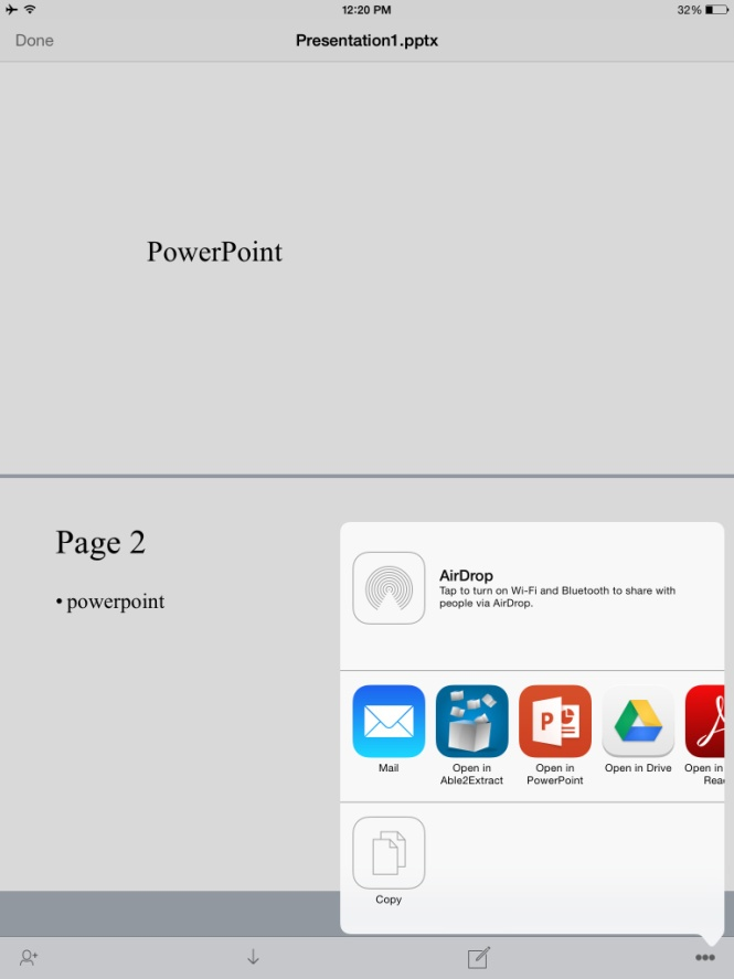 Showing Presentations with PowerPoint for iPad Without a Subscription