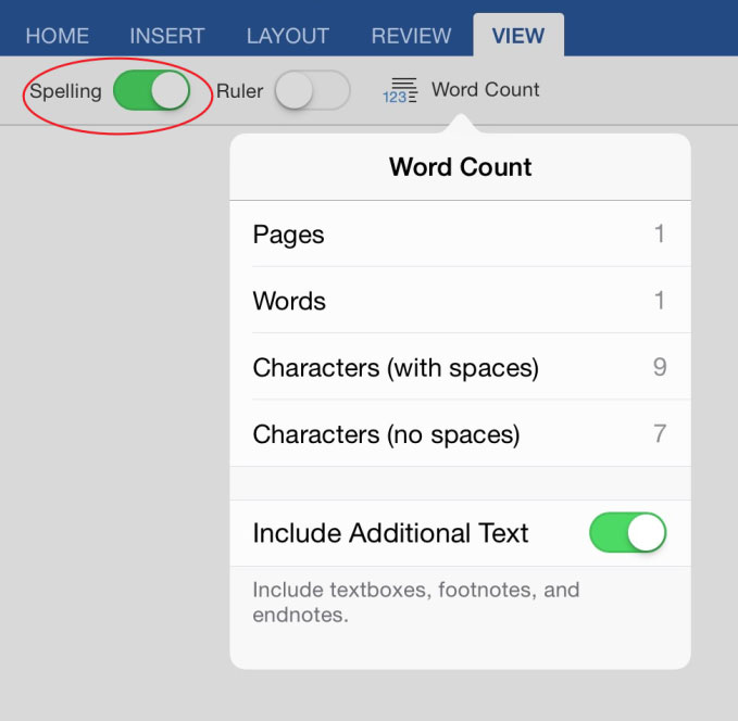 how to turn on word count in powerpoint