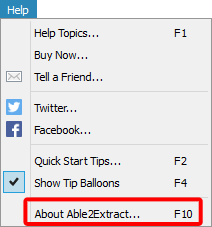 Able2Extract Help menu