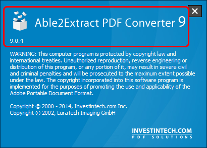 Able2Extract About screen