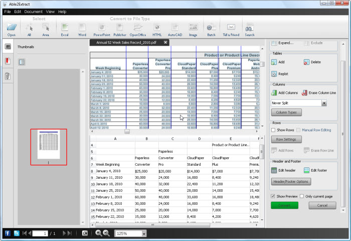 PDF to Excel Preview Pane