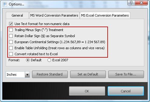 PDF to Excel Conversion Parameters