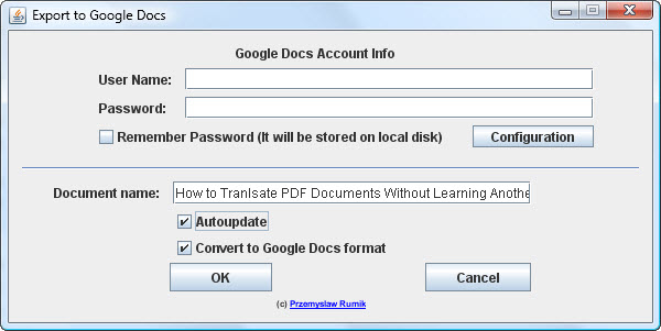 Entering GoogleDocs Credentials