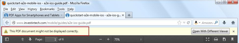 Firefox PDF viewer warning