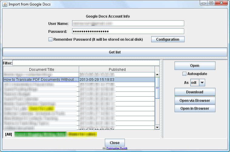 Importing GoogleDocs to OpenOffice