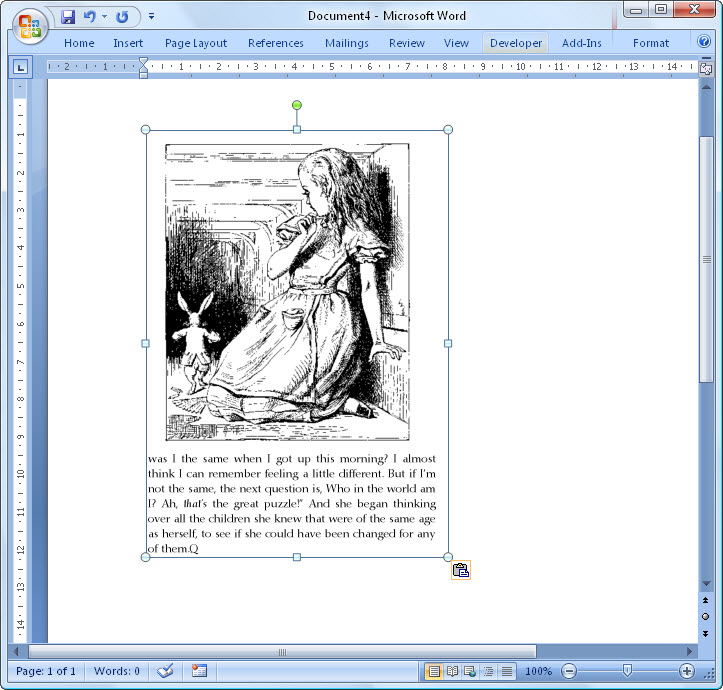 Pasting PDF content in Word