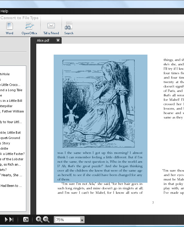 Selecting PDF content for Snapshot