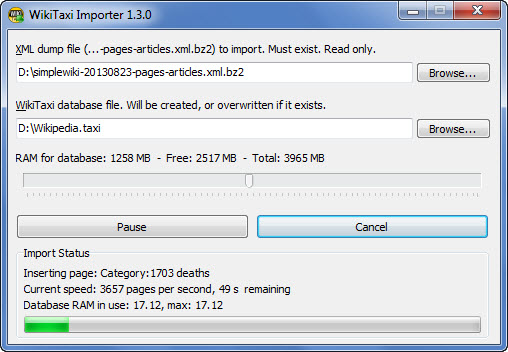 Importing a Wikipedia Database
