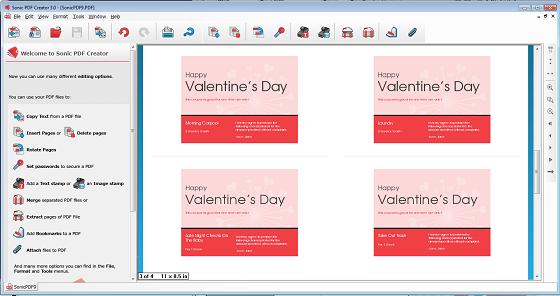 Valentine Sonic booklet layout