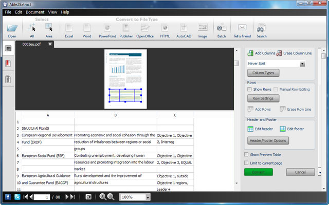 Able2Extract Excel Preview Panel