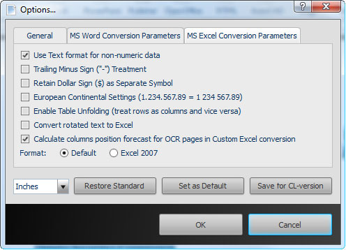 Able2Extract Excel Conversion Parameters