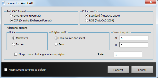 Able2Extract AutoCAD Conversion Options
