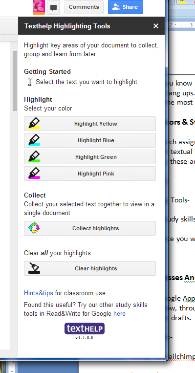 Texthelp Highlighting Tools