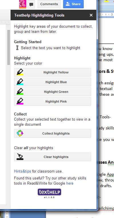 Texthelp Highlighting Tools