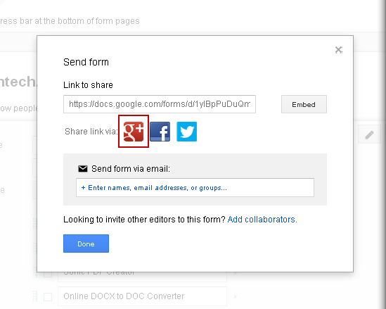 Sharing Forms on GooglePlus