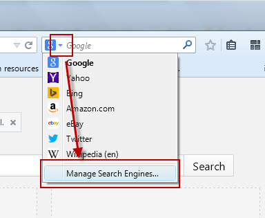 Accessing Firefox Search Engine