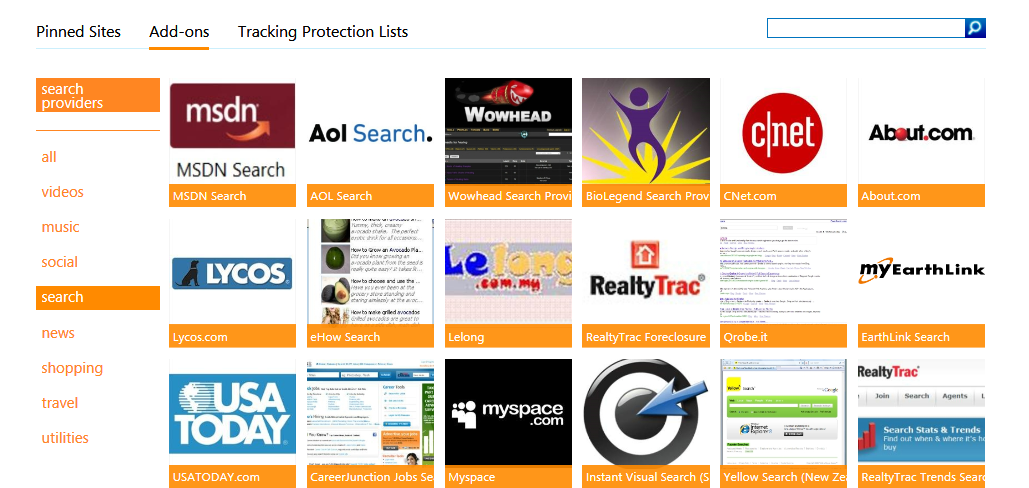 IE Gallery Search Providers