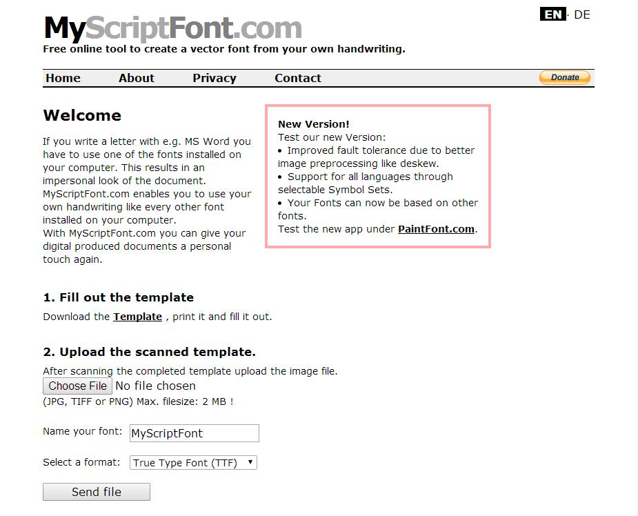 Using MyScriptFont Interface