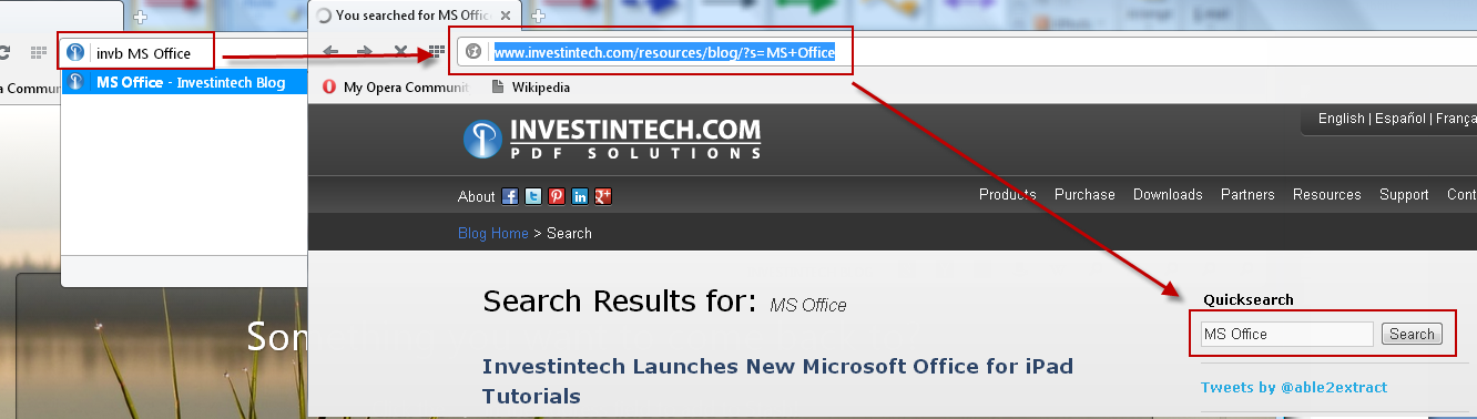 Opera Address Bar results