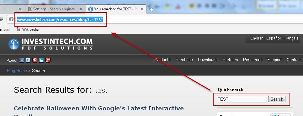 Opera SE Test URL