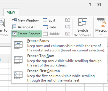 Freezing Excel Columns Rows