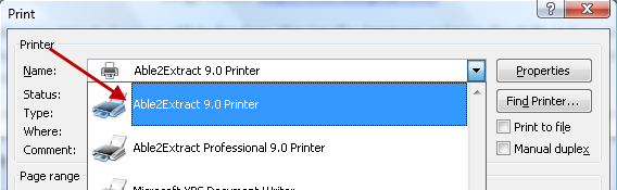 Able2Extract Virtual Print Driver