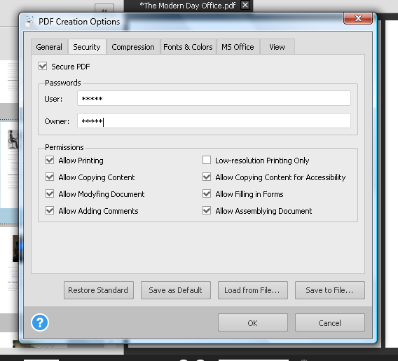 PDF Creation Security Options