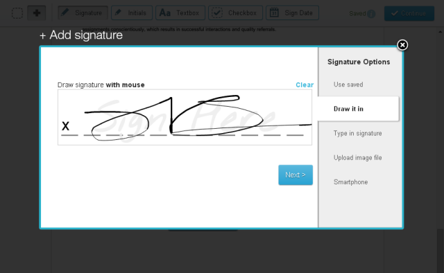 Selecting Signature Type