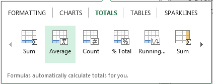 Selecting Excel Average Option