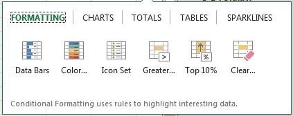 Selecting Quick Analysis Option