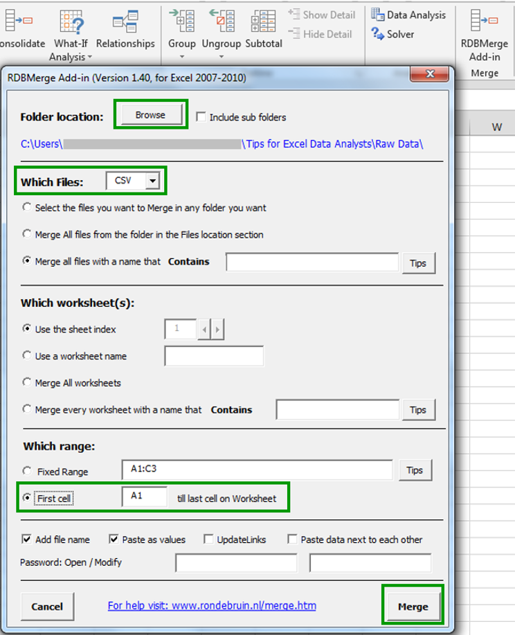 Selecting Excel RDBMerge Options