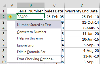 Excel Text Tool Tip
