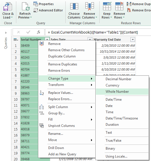 Excel Power Query Options