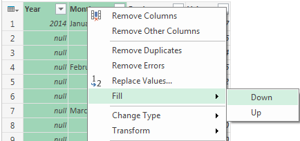 Selecting PowerQuery Fill Option