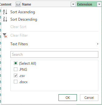 Selecting PowerQuery CSV Filter