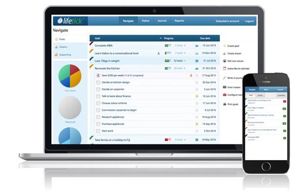 Lifetick Tracking Goals Online