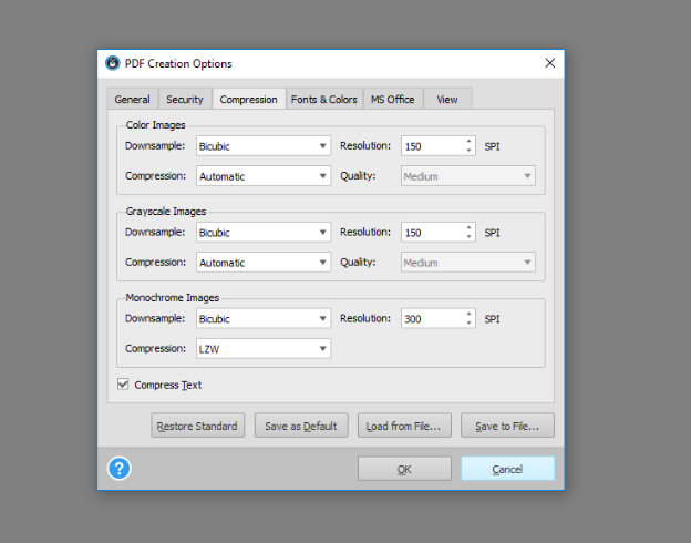 Selecting Able2Extract Compression Options