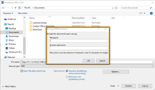 Encrypting PDFs In MS Word